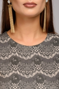 Купить Короткое платье цвета пудры с имитацией кружева и длинными рукавами в магазине женской одежды в Воронеже