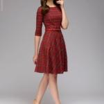 """Красное платье мини с принтом """"шотландская клетка"""" dm00928rd-2"""