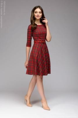 """Красное платье мини с принтом """"шотландская клетка"""" купить в интернет-магазине"""