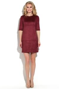 Платье бордового цвета длины мини из эко-замши купить в Воронеже