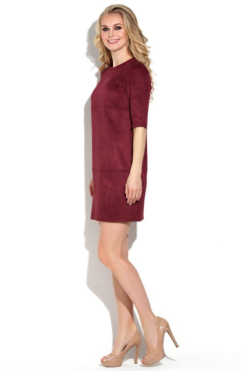 Платье бордового цвета длины мини из эко-замши ds00244bo-2