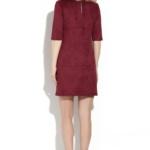 Платье бордового цвета длины мини из эко-замши ds00244bo-3