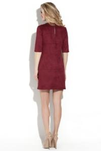 Заказать Платье бордового цвета длины мини из эко-замши с бесплатной доставкой по России