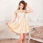 Бежевое платье мини с кружевным верхом и пышной юбкой zd00373bg-7