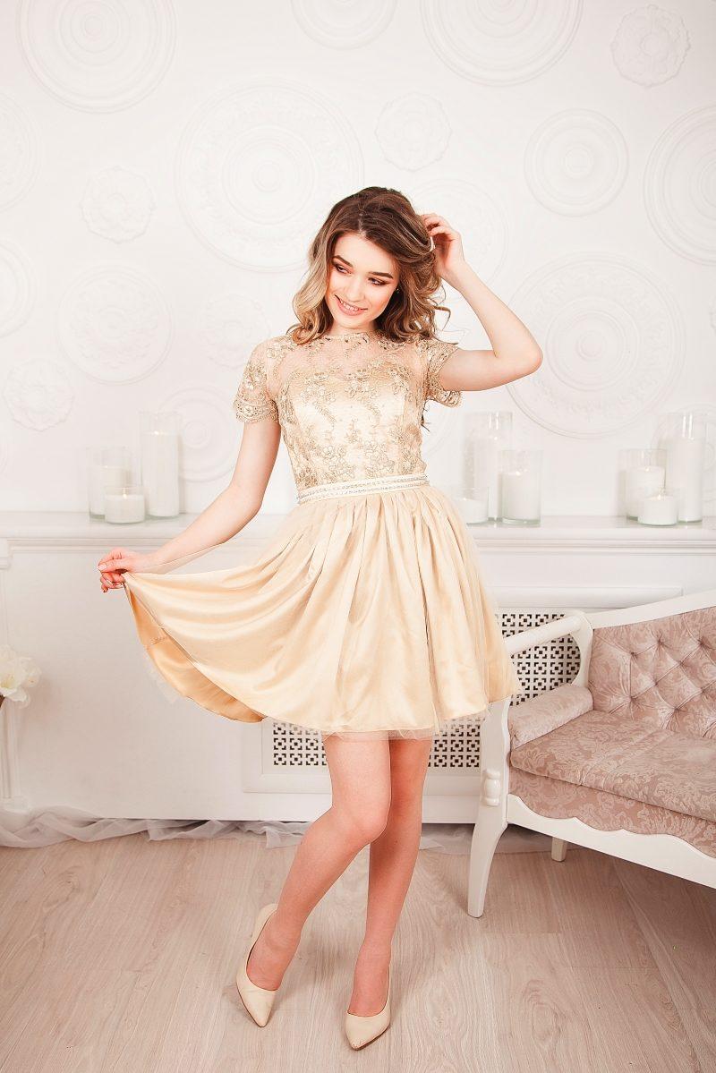 Бежевое платье мини с кружевным верхом и пышной юбкой на выпускной купить