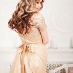 Бежевое платье мини с кружевным верхом и пышной юбкой zd00373bg-8