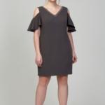 Короткое платье цвета мокко с открытыми плечами и воланами большого размера dsb00034mo-3
