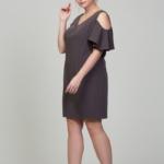Короткое платье цвета мокко с открытыми плечами и воланами большого размера dsb00034mo-4
