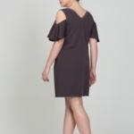Короткое платье цвета мокко с открытыми плечами и воланами большого размера dsb00034mo-5