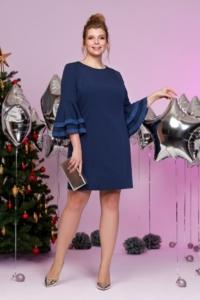 Темно-синее платье мини с воланами и кружевом на рукавах купить в Воронеже