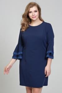 Темно-синее платье мини с воланами и кружевом на рукавах купить в интернет-магазине