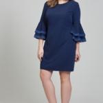 Темно-синее платье мини с воланами и кружевом на рукавах dsb00028db-4