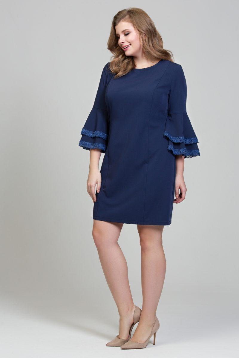 Темно-синее платье мини с воланами и кружевом на рукавах заказать с доставкой по России