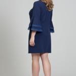 Темно-синее платье мини с воланами и кружевом на рукавах dsb00028db-5