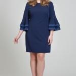Темно-синее платье мини с воланами и кружевом на рукавах dsb00028db-3