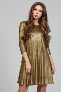 Золотое платье свободного кроя с рукавами 3/4 купить в интернет-магазине