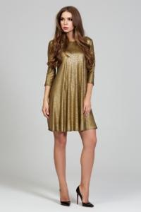 Заказать Золотое платье свободного кроя с рукавами 3/4 с бесплатной доставкой по России