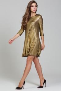 Купить Золотое платье свободного кроя с рукавами 3/4 в магазине женской одежды в Воронеже
