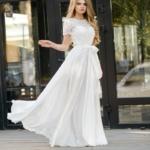 Длинное белое платье с пышной юбкой и кружевным верхом с короткими рукавами zd00335wh-1