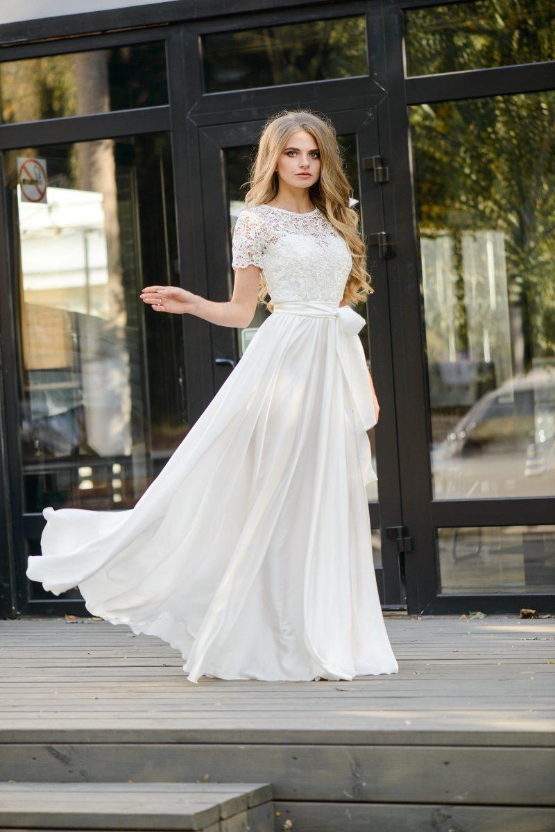 3cc4a7e88 Длинное белое платье с пышной юбкой и кружевным верхом с короткими рукавами  zd00335wh-1