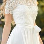 Длинное белое платье с пышной юбкой и кружевным верхом с короткими рукавами zd00335wh-2
