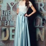 Длинное голубое платье с пышной юбкой и кружевным верхом с короткими рукавами zd00335lb-1