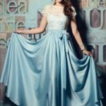 Длинное голубое платье с пышной юбкой и кружевным верхом с короткими рукавами zd00335lb-2