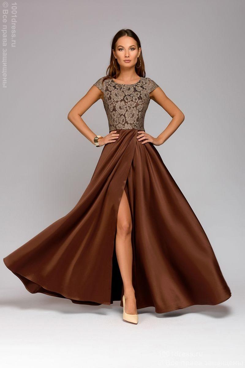 2d5ea457346 Длинное платье цвета мокко с разрезом на юбке купить в Воронеже