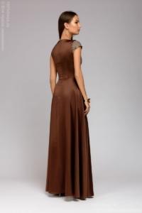 Заказать Длинное платье цвета мокко с разрезом на юбке с бесплатной доставкой по России
