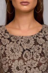 Купить Длинное платье цвета мокко с разрезом на юбке в магазине женской одежды в Воронеже