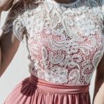 Длинное розовое платье с пышной юбкой и кружевным верхом с короткими рукавами zd00335pk-3