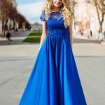 Длинное синее платье с пышной юбкой и кружевным верхом с короткими рукавами zd00335bl-1