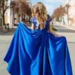 Длинное синее платье с пышной юбкой и кружевным верхом с короткими рукавами zd00335bl-2