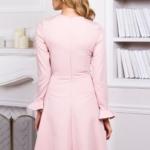 Нежно-розовое платье с расклешенной юбкой и длинными рукавами vv51481pk-3