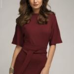Платье мини бордового цвета с рукавом «летучая мышь» dm00211we-2