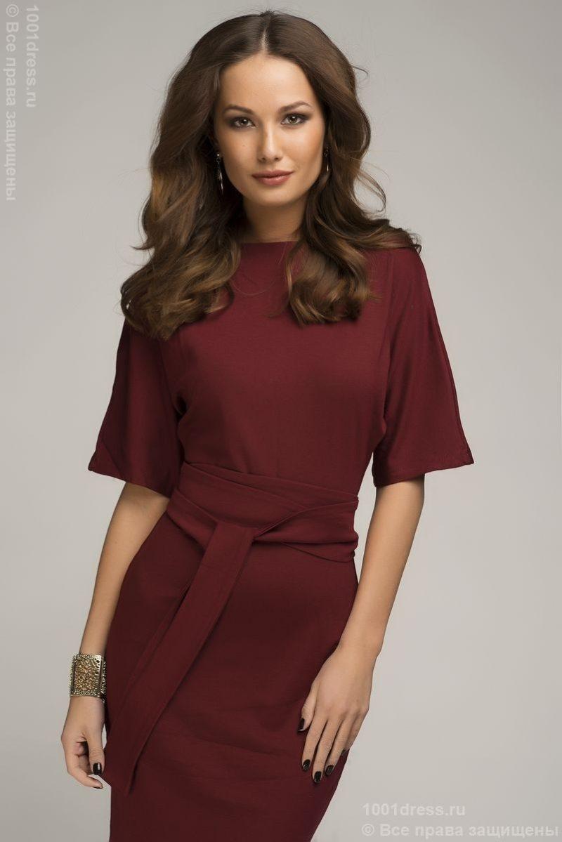 """Платье мини бордового цвета с рукавом """"летучая мышь"""" купить в интернет-магазине"""