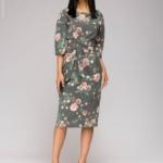 Серое платье миди с цветочным принтом и широким поясом dm00942gy-2