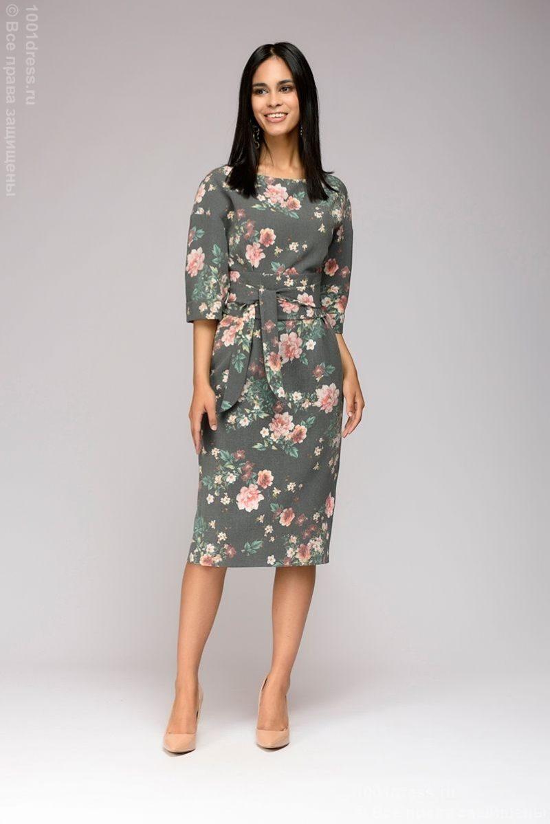Серое платье миди с цветочным принтом и широким поясом купитть в интернет-магазине
