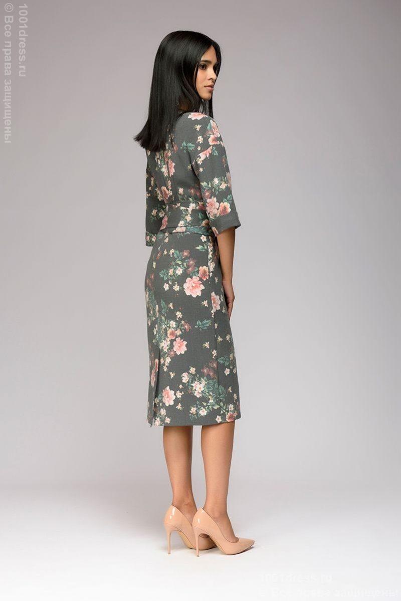 Заказать Серое платье миди с цветочным принтом и широким поясом с бесплатной доставкой по России