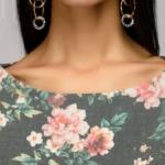 Серое платье миди с цветочным принтом и широким поясом dm00942gy-4