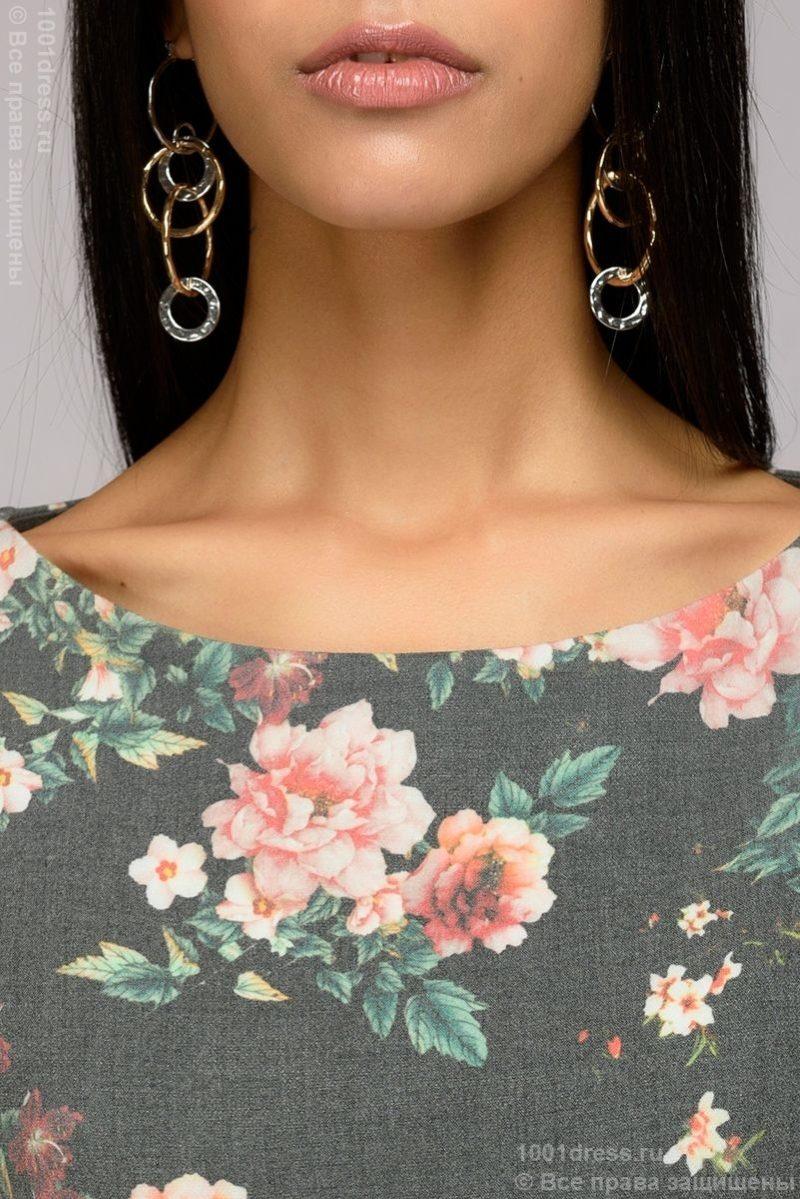 Купить Серое платье миди с цветочным принтом и широким поясом в магазине женской одежды в Воронеже