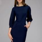 Темно-синее платье с пышными рукавами dm00436bl-1