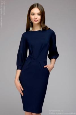 Темно-синее платье с пышными рукавами купить в Воронеже