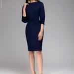 Темно-синее платье с пышными рукавами dm00436bl-2