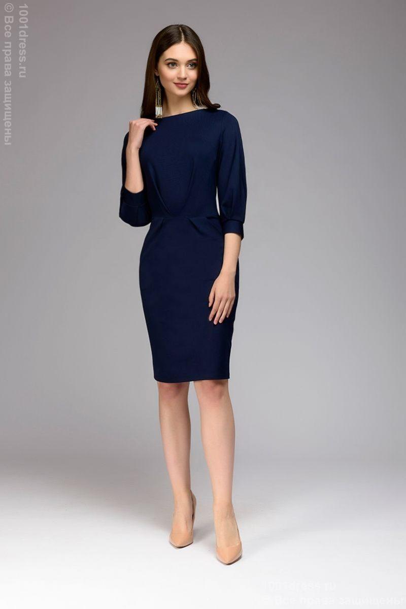 Темно-синее платье с пышными рукавами купить в интернет-магазине