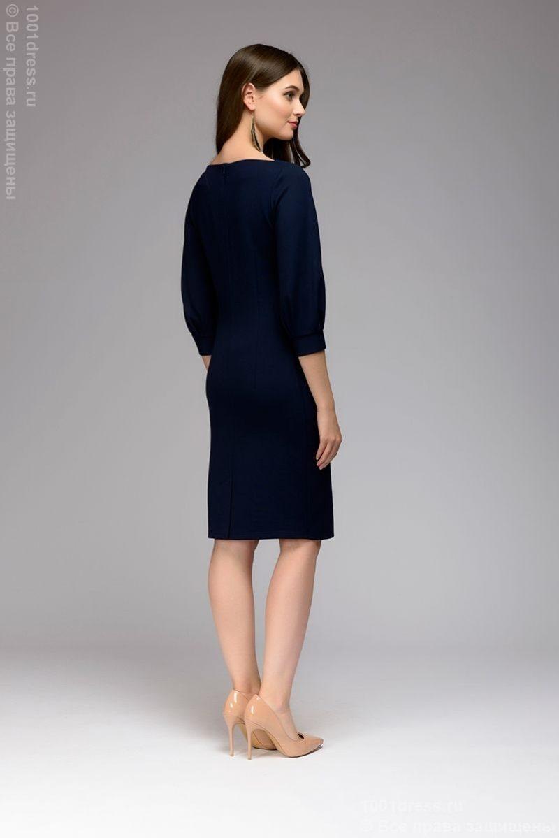 Заказать Темно-синее платье с пышными рукавами с бесплатной доставкой по России