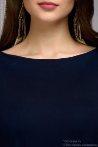Купить Темно-синее платье с пышными рукавами в магазине женской одежды в Воронеже
