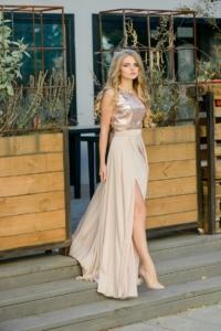 Вечернее платье цвета пудры с верхом из пайеток и вырезом на спине купить в Воронеже