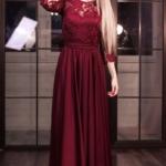 Вечернее платье в пол вишневого цвета с кружевным верхом и рукавами 3/4 zd00337ch-1