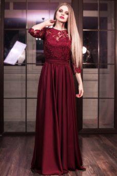 56d21a533e1 ... Вечернее платье в пол вишневого цвета с кружевным верхом и рукавами 3 4  купить в